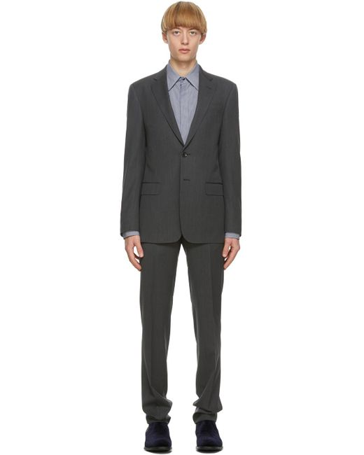 Costume à simple boutonnage gris Giorgio Armani pour homme en coloris Gray