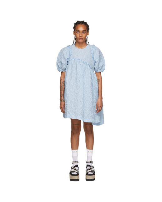 Simone Rocha ブルー アシンメトリ ウエスト ドレス Blue