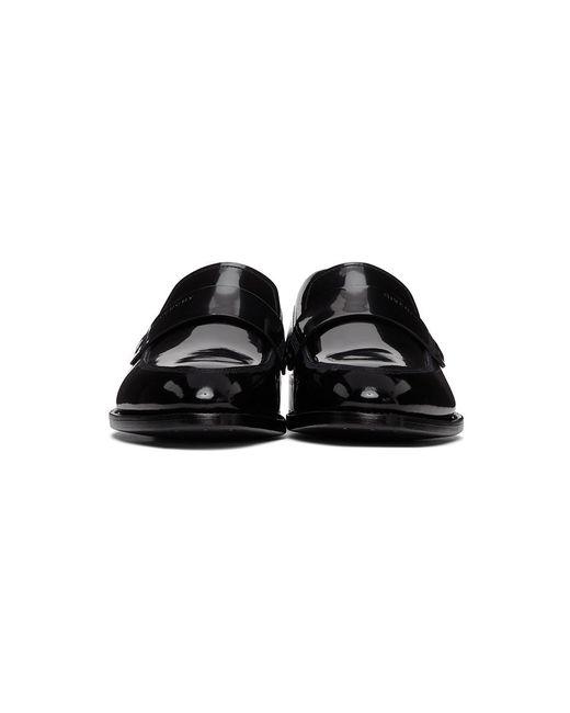 メンズ Givenchy ブラック シャイニー レザー ローファー Black