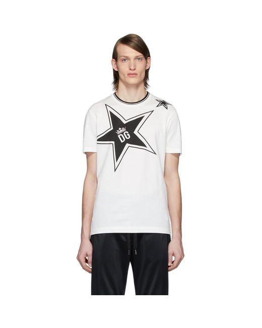 メンズ Dolce & Gabbana ホワイト Dg Stars T シャツ White
