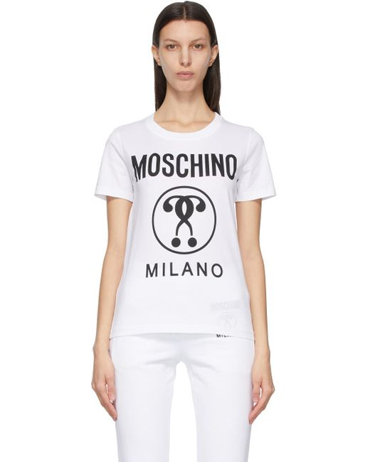 Moschino ホワイト Double Question Mark T シャツ White
