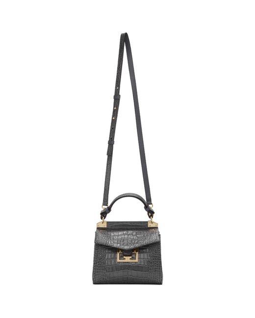 Givenchy グレー クロコ ミニ ミスティック トップ ハンドル バッグ Gray
