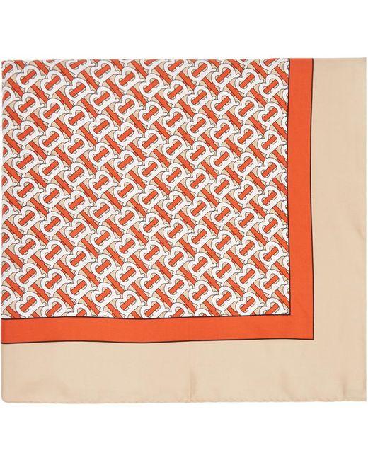 Burberry ベージュ シルク モノグラム スカーフ Natural