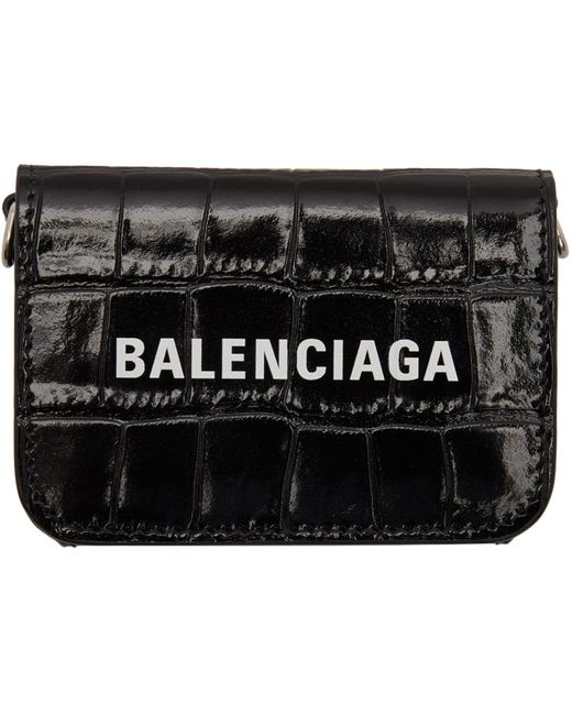 Balenciaga ブラック クロコ ミニ Cash ウォレット バッグ Black