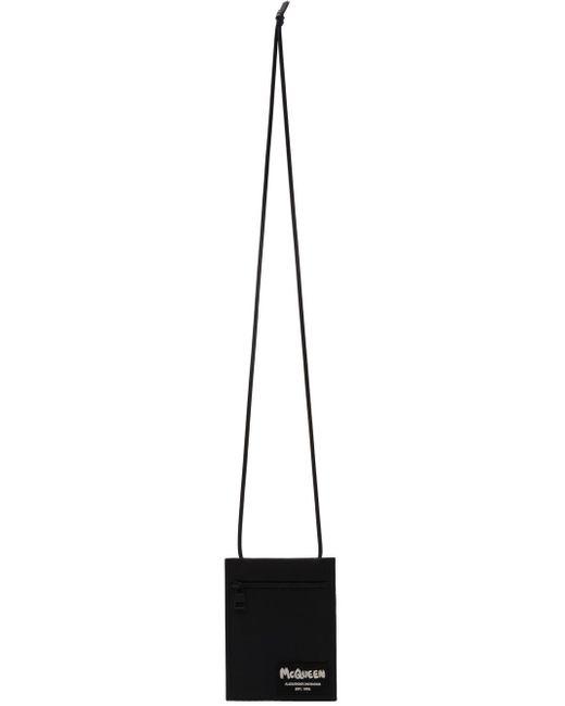 メンズ Alexander McQueen ブラック ロゴ クロスボディ ポーチ Black