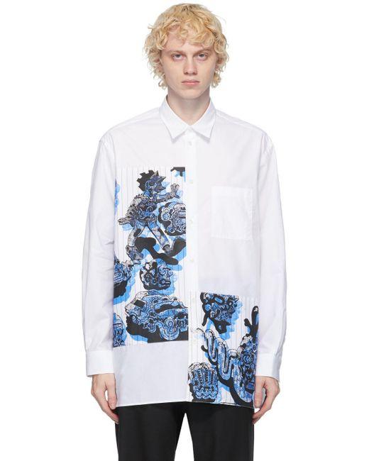 メンズ Stella McCartney ホワイト & ブルー パッチワーク シャツ White