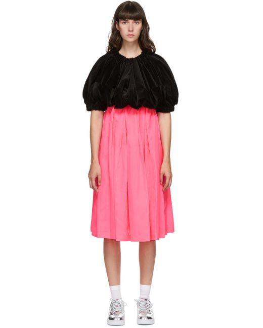 Comme des Garçons ブラック & ピンク ベルベット ミディ ドレス Pink