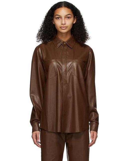 Nanushka Brown Burgundy Vegan Leather Declan Shirt