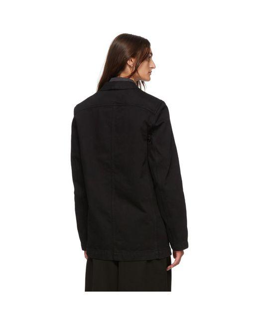 Lemaire ブラック デニム ダブルブレスト ジャケット Black