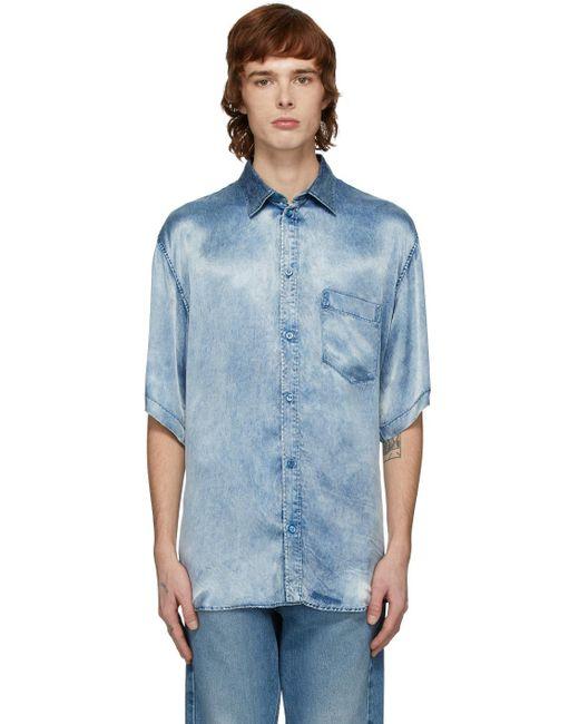メンズ Balenciaga インディゴ サテン アシッド ウォッシュ シャツ Blue