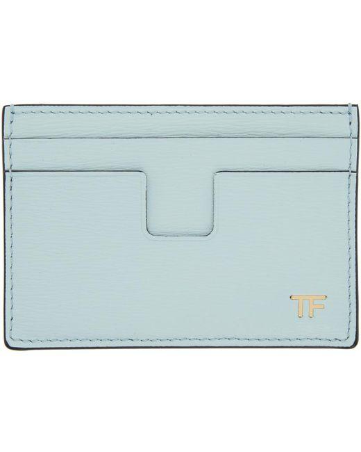 メンズ Tom Ford ブルー T-line カード ケース Blue