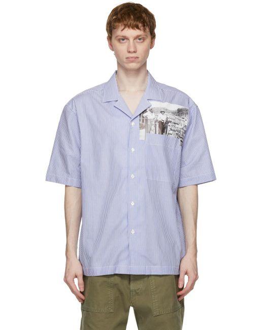 メンズ President's ブルー ピンストライプ Rangi ショート スリーブ シャツ Blue