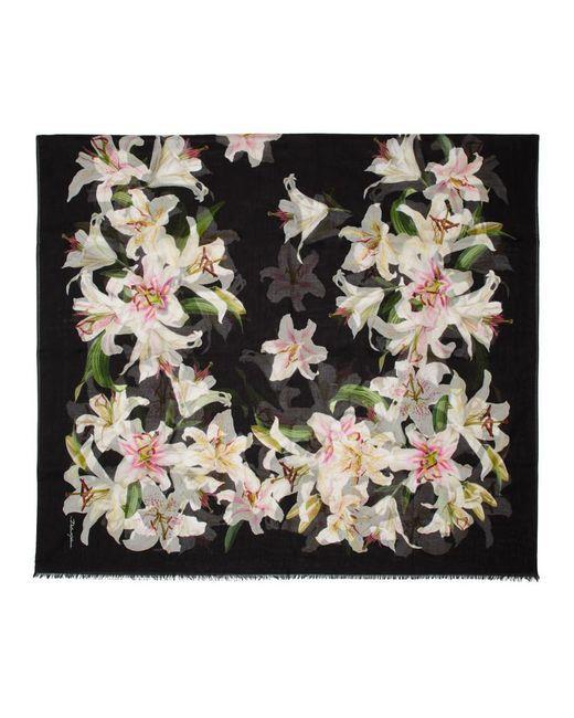 Dolce & Gabbana ブラック リリウム スカーフ Black