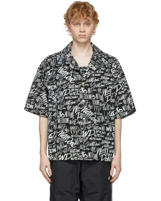 メンズ we11done ブラック ロゴ ショート スリーブ シャツ Black