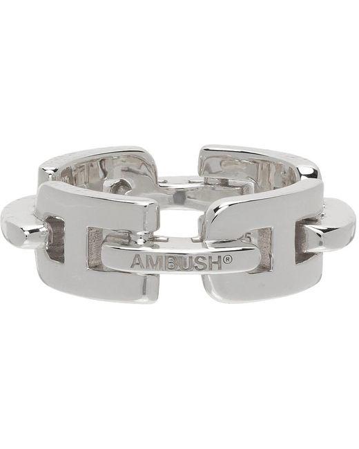 Ambush Metallic Silver Chain Ring for men