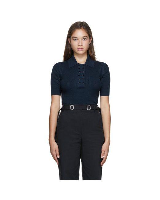 Proenza Schouler ネイビー And ブラック ニット Marl ポロシャツ Black