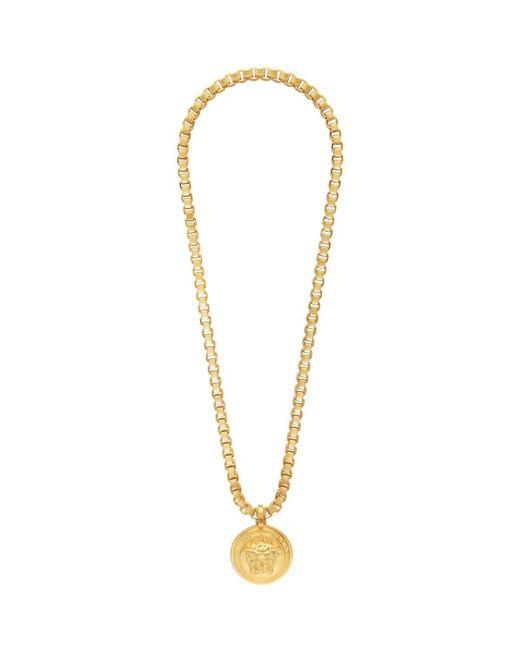 メンズ Versace ゴールド チェーン メドゥーサ ネックレス Metallic