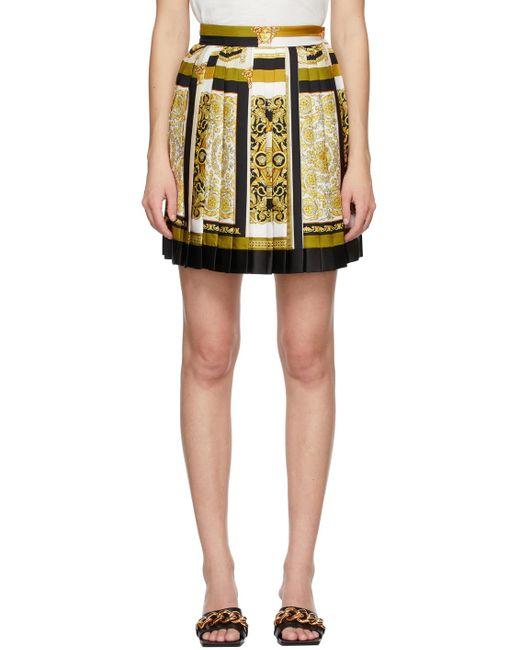 Versace マルチカラー Barocco Mosaic ミニスカート Yellow
