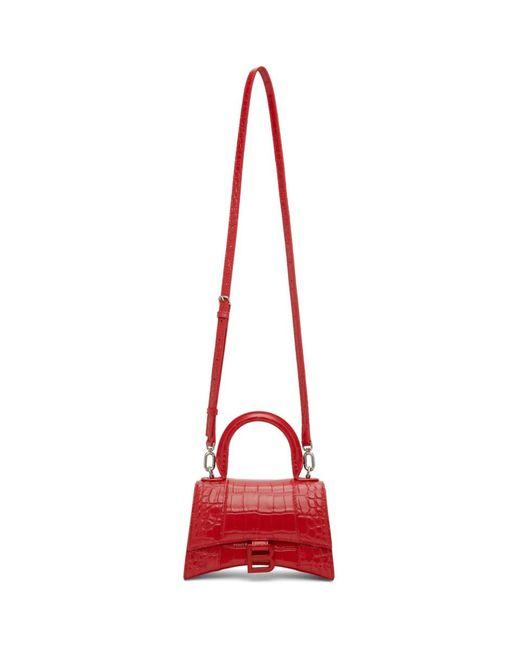 Balenciaga レッド クロコ Xs Hourglass バッグ Red