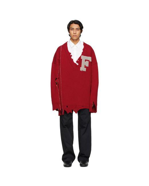 メンズ Raf Simons レッド オーバーサイズ F セーター Red