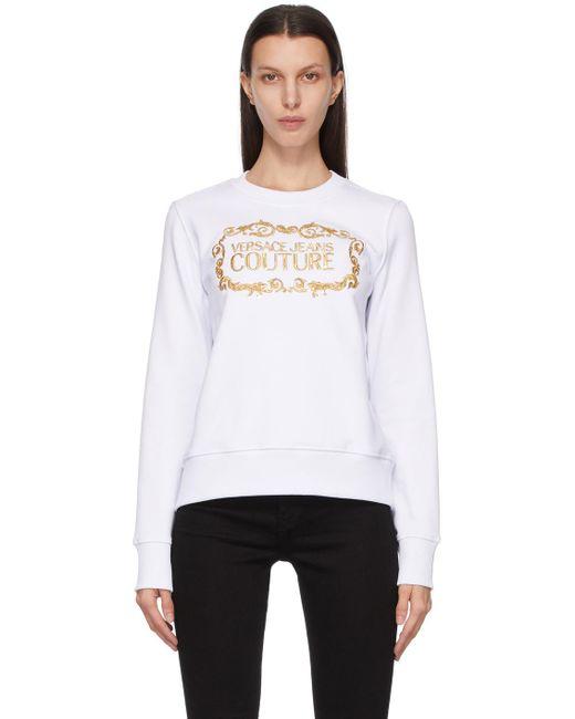 Versace Jeans ホワイト & ゴールド ロゴ スウェットシャツ White