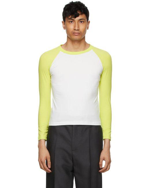 メンズ we11done ホワイト & グリーン ロング スリーブ T シャツ White