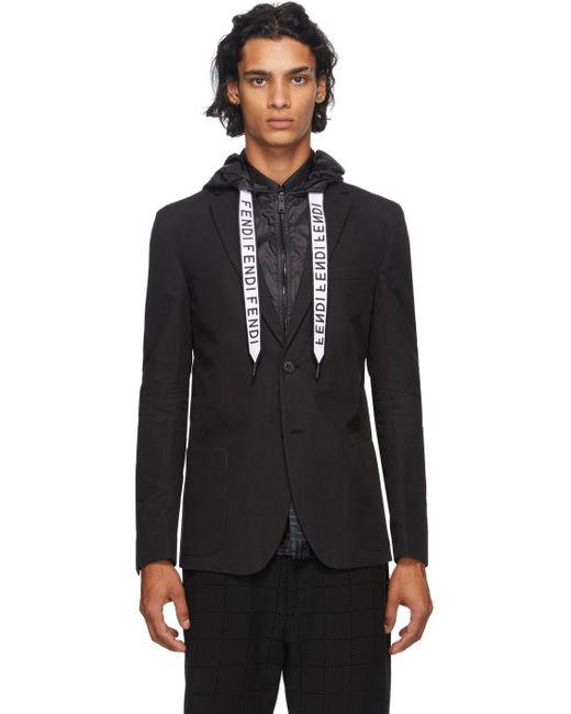 メンズ Fendi ブラック フード ロゴ ブレザー Black
