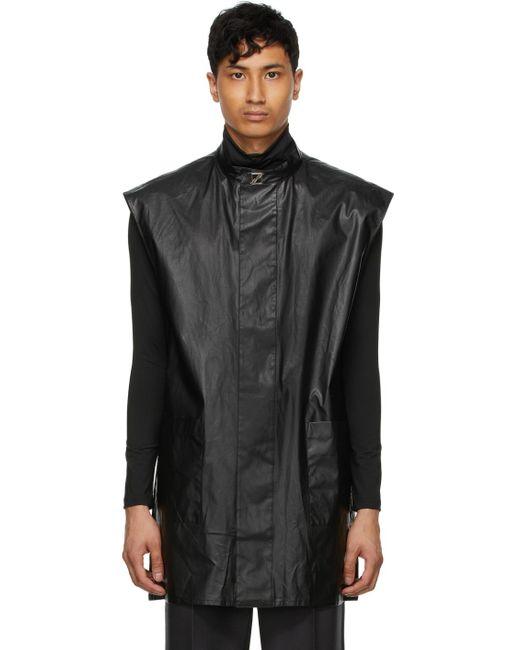 メンズ we11done ブラック ロゴ ノースリーブ オーバー シャツ Black