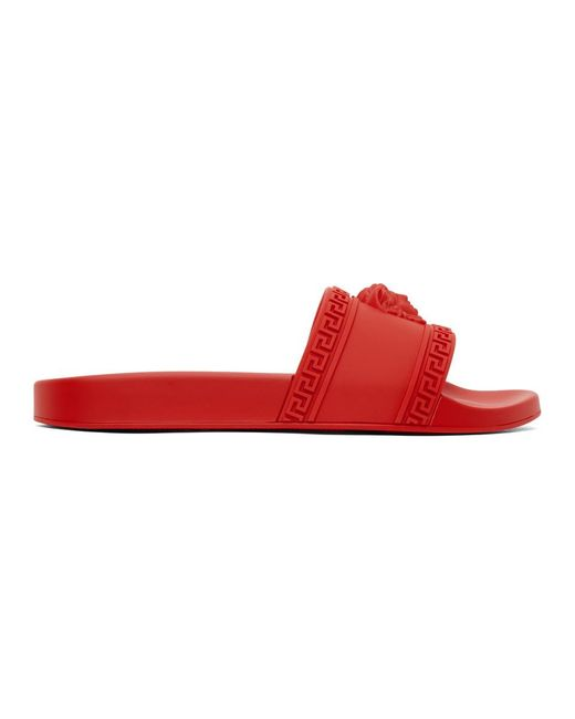 メンズ Versace レッド メドゥーサ プール スライド Red