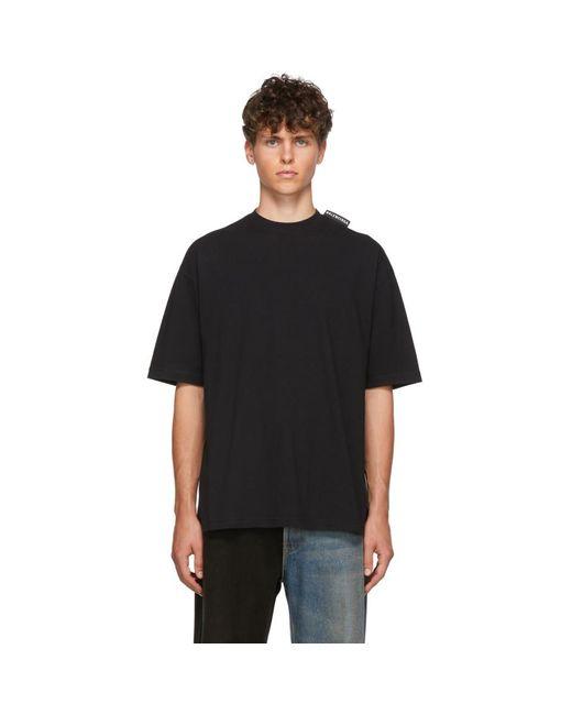メンズ Balenciaga ブラック ロゴ タブ レギュラー T シャツ Black