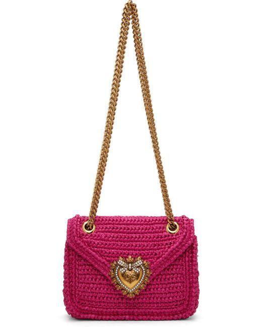 Dolce & Gabbana ピンク ミディアム Devotion バッグ Multicolor
