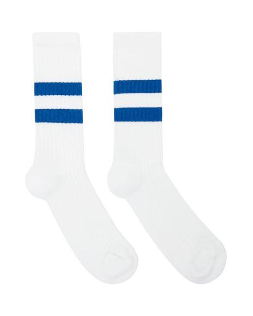メンズ Norse Projects ホワイト And ブルー コットン Bjarki スポーツ ソックス Blue