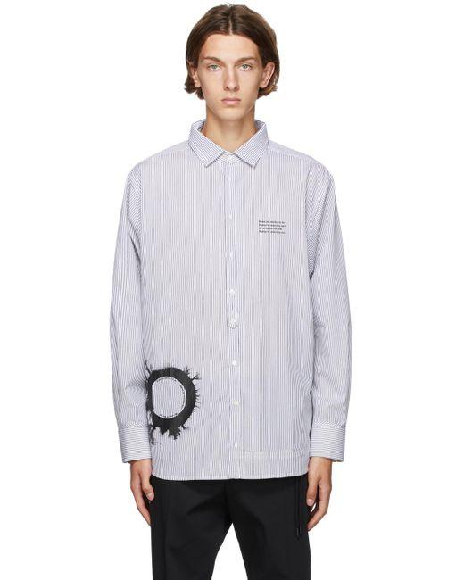 メンズ Isabel Benenato ホワイト & ブラック ストライプ グラフィック プリント オーバーサイズ シャツ White
