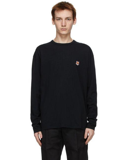 Maison Kitsuné Black Fox Head Long Sleeve T-shirt for men