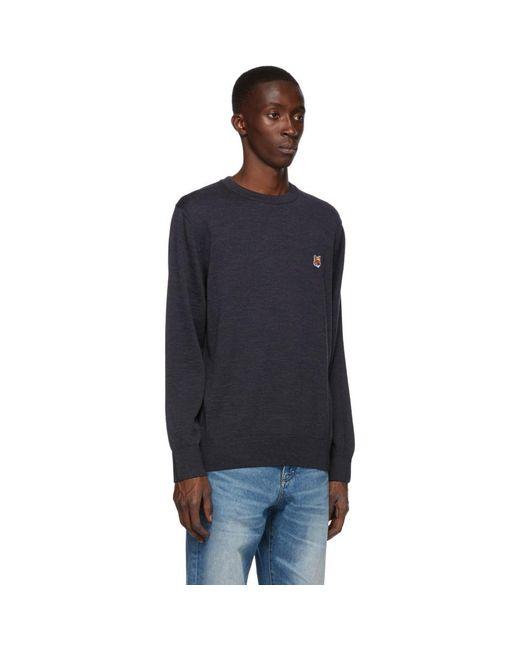 メンズ Maison Kitsuné ネイビー ウール Fox Head セーター Blue