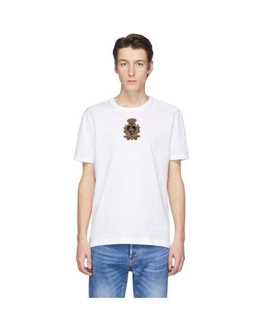 メンズ Dolce & Gabbana ホワイト エンブロイダリー クラウン パッチ T シャツ White