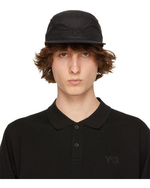 メンズ Y-3 ネイビー ロゴ キャップ Black