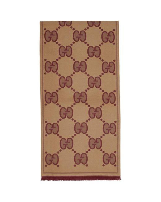 Foulard en laine brun et bourgogne GG Gucci pour homme en coloris Brown
