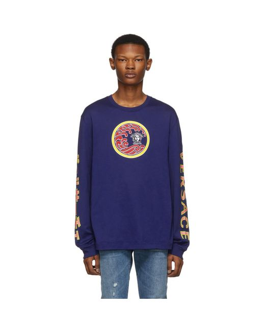 メンズ Versace ブルー ジャパニーズ サーフ ロング スリーブ T シャツ Blue
