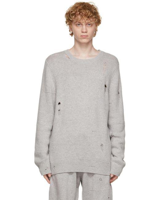 メンズ Helmut Lang グレー Distressed セーター Gray