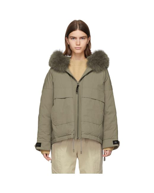 Army by Yves Salomon Natural Beige Down And Fur Bachette Jacket