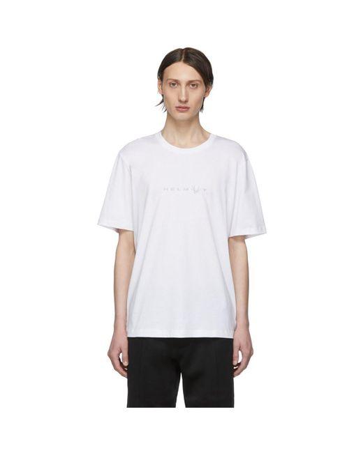 メンズ Helmut Lang ホワイト Alien ロゴ T シャツ White