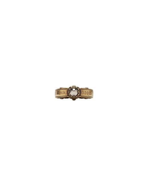 Alexander McQueen - Metallic Gold Skull Engraved Ring for Men - Lyst