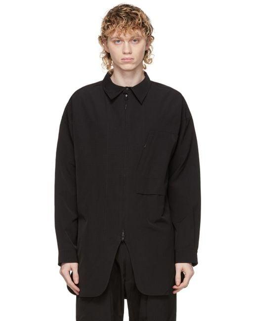 メンズ Y-3 ブラック オーバーシャツ Black