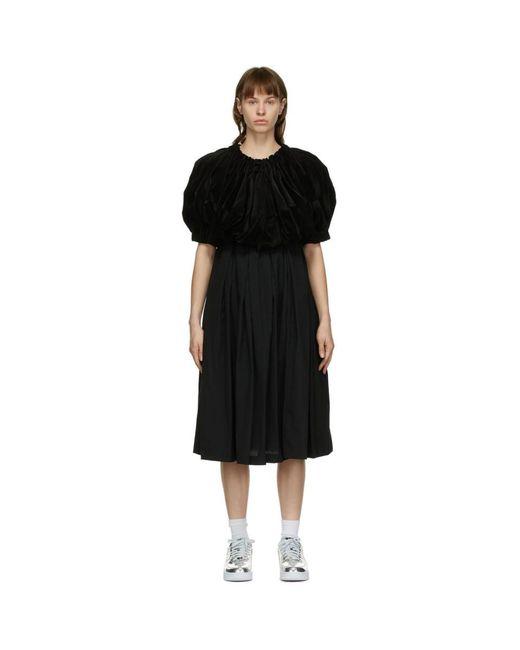 Comme des Garçons ブラック ベルベット ミッドレングス ドレス Black