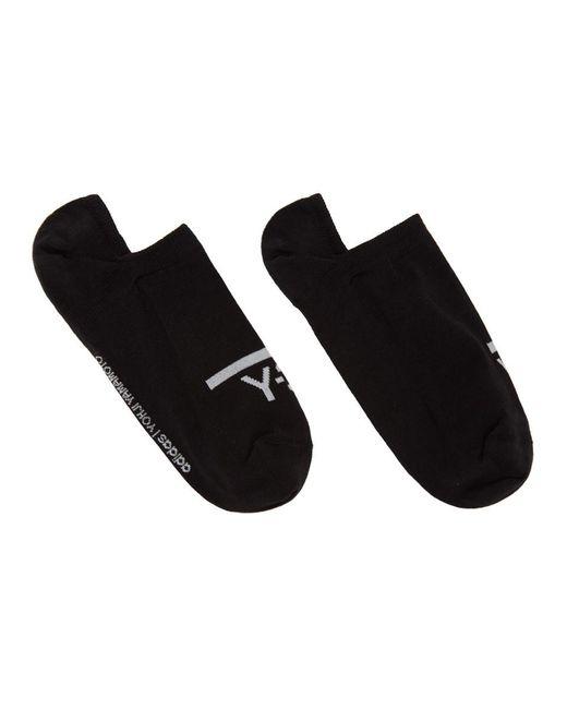 メンズ Y-3 ブラック And ホワイト アンクル ソックス 2 足セット Black