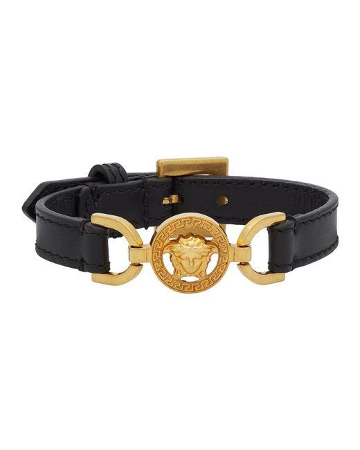 Versace ブラック And ゴールド カーフスキン メドゥーサ ブレスレット Black