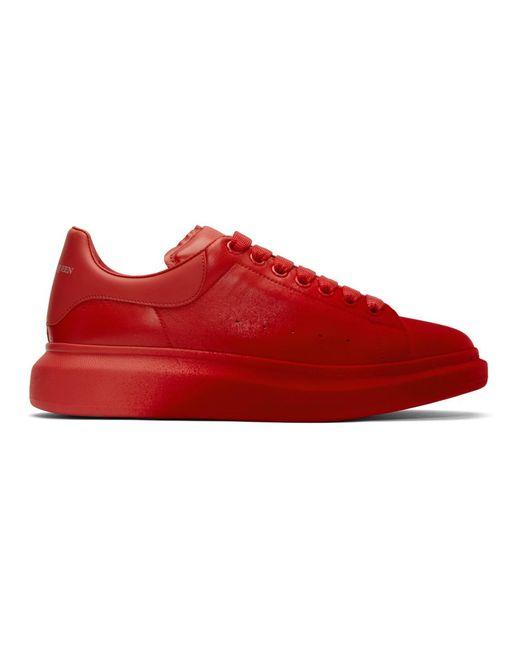メンズ Alexander McQueen レッド ベルベット スプレー オーバーサイズ スニーカー Red