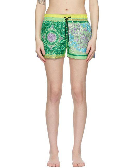 Versace マルチカラー Barocco Mosaic スイム ショーツ Green