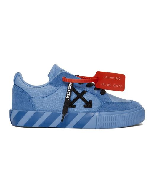 Off-White c/o Virgil Abloh Ssense Exclusive Blue Low Vulcanized Sneakers